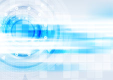 Blue hi-tech background with glowing stripes. And HUD gears design. Vector illustration Stock Photo