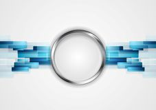 Blue hi-tech background with metal circle Stock Image