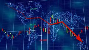 Blue hi-tech background - stock diagrams with falling arrow. stock photo