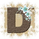 Blue hibiscus alphabet D. Blue hibiscus grunge vintage alphabet D Royalty Free Stock Photography