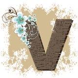 Blue hibiscus alphabet V. Blue hibiscus grunge vintage alphabet V Stock Photo