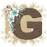 Blue hibiscus vintage alphabet G Royalty Free Stock Images