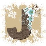 Blue hibiscus vintage alphabet G. Blue hibiscus grunge vintage alphabet G Stock Images