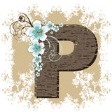 Blue hibiscus vintage alphabet P Stock Photography