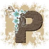 Blue hibiscus vintage alphabet P. Blue hibiscus grunge vintage alphabet P Stock Photography