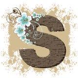 Blue hibiscus vintage alphabet S. Blue hibiscus grunge vintage alphabet S Stock Photography