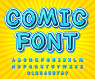 Blue high detail comic font, alphabet. Comics, pop art Stock Image