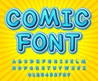 Blue high detail comic font, alphabet. Comics, pop art stock illustration
