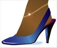 Blue High Heel Shoe Stock Image