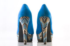 Blue high heel shoes. Back view stock photography