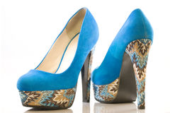 Blue high heel shoes Royalty Free Stock Images