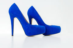Blue high heel shoes Royalty Free Stock Photography