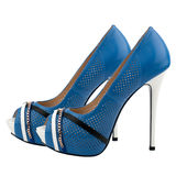 Blue high heel women shoes isolated on white background. Royalty Free Stock Images
