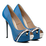 Blue high heel women shoes isolated on white background. Stock Photo