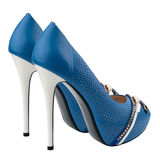 Blue high heel women shoes isolated on white background. Royalty Free Stock Image