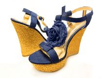Blue high-heeled denim wedge platform shoes Royalty Free Stock Photos