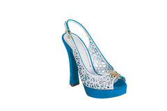 Blue high heeled sandals Stock Images