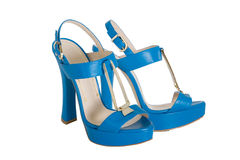 Blue high heeled sandals Royalty Free Stock Photo