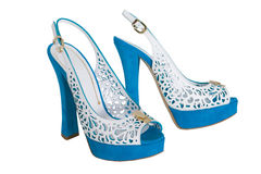 Blue high heeled sandals Stock Photography