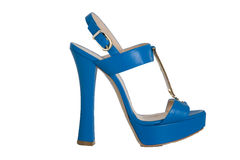 Blue high heeled sandals Stock Photos