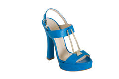Blue high heeled sandals Royalty Free Stock Photography