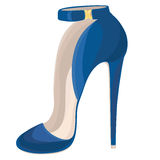 Blue high heeled shoe with buckle. Vector illustration Royalty Free Stock Photo