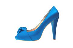 Blue high heeled shoe isolated on white Royalty Free Stock Photo