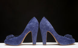 Blue high heeled shoes Royalty Free Stock Photography