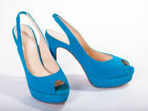 Blue high-heeled shoes Stock Photo