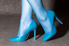 Blue high heels Royalty Free Stock Photography