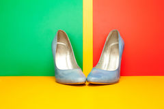 Blue high heels shoes Royalty Free Stock Photo