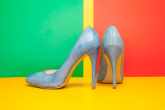 Blue high heels shoes Stock Image