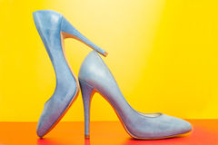 Blue high heels shoes Royalty Free Stock Photography