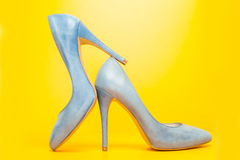 Blue high heels shoes Stock Photography