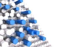 Blue high hexagons Stock Photos