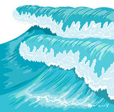 Blue high ocean wave. Surge wave Royalty Free Stock Photo