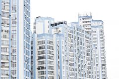 Blue high-rise building. Multi-storey new building Royalty Free Stock Photography