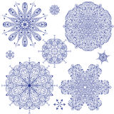 Blue Highly Detailed Snowflakes Stock Photos