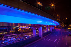 Blue Highway Street Traffic Night Light Trails Central Shanghai. Blue Highway Street Traffic Cars and Light Trails at Night in Central Shanghai, China Royalty Free Stock Images