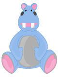 Blue Hippo. Happy Light Blue Hippo stuffed animal sitting Royalty Free Stock Photography
