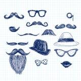 Blue Hipster Doodle Elements royalty free illustration