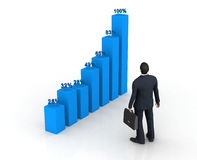 Blue histogram and business man Stock Photography