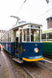 The blue historic tram in Turin Royalty Free Stock Photography