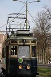 Blue historical streetcar driving at the lange vijverberg in The. Hague as museum Royalty Free Stock Photos