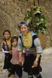 Blue Hmong woman and girls Royalty Free Stock Photography
