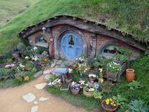 Blue Hobbit-Hole and Garden Royalty Free Stock Photos