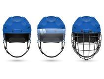 Blue hockey helmet in three varieties Royalty Free Stock Image