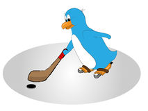 Blue Hockey Penguin Stock Photography