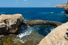 Blue hole and the collapsed Azure window. Gozo, Malta Royalty Free Stock Photos