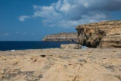 Blue hole and the collapsed Azure window. Gozo, Malta Royalty Free Stock Photos